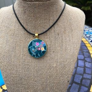 Flowers in Branch Mosaic Pendant Necklace